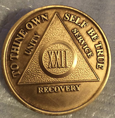 Alcoholics Anonymous 22 Year Recovery Coin Chip Medallion Medal Token AA Bronze