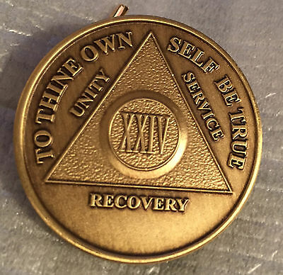 Alcoholics Anonymous 24 Year Recovery Coin Chip Medallion Medal Token AA Bronze