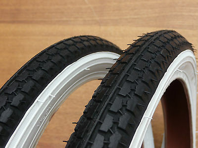 20x1.75 White Wall Raleigh Tyres Pair BMX Retro NEW bike cycle bicycle street