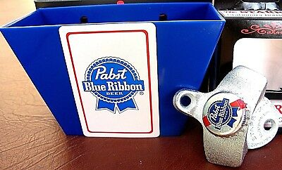 Pabst Blue Ribbon Beer Bottle Cap Opener & Playing Card / Cap Catcher PBR   NIB