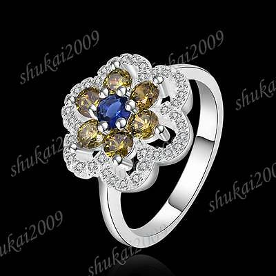 CR430 Size 8 New Arrive Fashion 925 Silver Crystal Multicolor Zircon Flower Ring