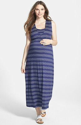 New Japanese Weekend Maternity and Nursing Navy Nautical Stripe Long Maxi Dress