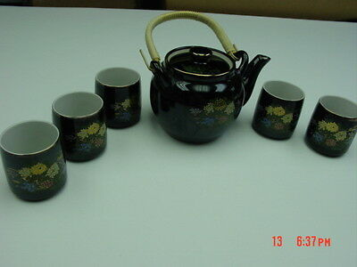 Vintage Japanese Tea set Japan Chrysanthemums Black Teapot 5 Cups Porcelain