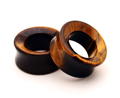 Pair of Tiger Eye Stone CONCAVE TUNNELS set gauges organic plugs Large size