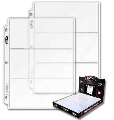 40 BCW 3-Pocket LARGE Size 3.5 x 8 Currency Paper Money Binder Pages Holders