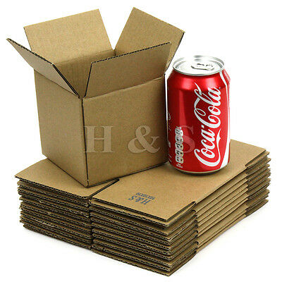 "Strong 4x4x4"" Mailing Cardboard Postal Boxes Small Parcel Packaging Single Wall"
