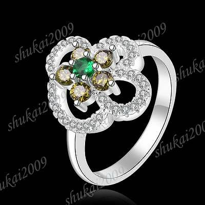 CR432 Size 8 New Arrive Fashion 925 Silver Crystal Multicolor Zircon Flower Ring