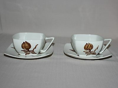 2 Orchard Ware Magnolia Coffee Cups & Saucers Brown Flower Square California