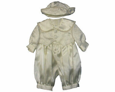 Baby Babies Boys Romper Suit Hat Waistcoat Cream White Blue Christening Wedding