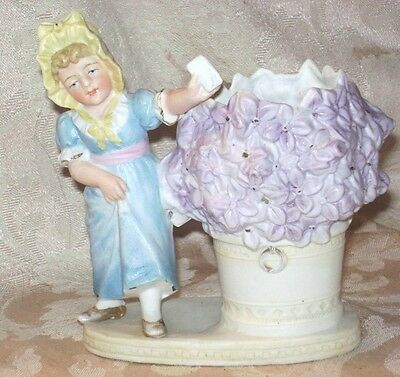 ANTIQUE VICTORIAN SPILL VASE SWEET GIRL IN PERIOD COSTUME W/ FLORAL DECOR