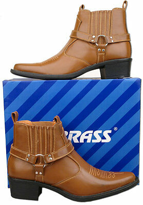 Mens Brand New Tan Pull On Cowboy Western Ankle Boots Size 6 7 8 9 10 11 12