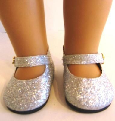 SILVER SPARKLE GLITTER DOLL SHOES fits American Girl Doll