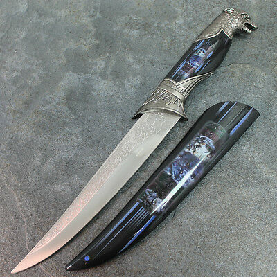 """13"""" Wolf Dagger Fixed Blade Hunting Knife With Scabbard H-4851-W2 zix"""