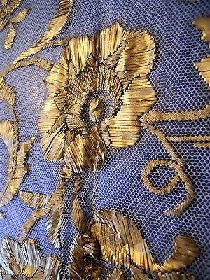 N 3 .  ANTIQUE FRENCH STUMPWORK GOLD METALLIC EMBROIDERY  19TH-CENTURY FLOWERS