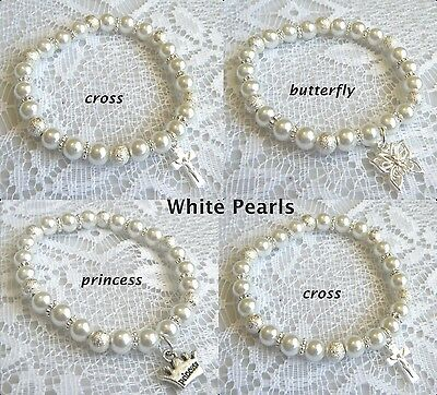 Baby White pearl CROSS - BUTTERFLY - PRINCESS charm bracelet Christening gift