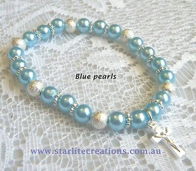 Baby BLUE pearl CROSS - BUTTERFLY - PRINCESS charm bracelet Christening gift