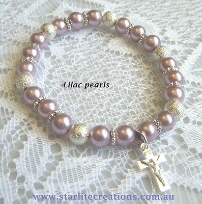 Baby LILAC pearl CROSS - BUTTERFLY - PRINCESS charm bracelet Christening gift