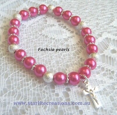 Baby FUCHSIA pearl CROSS - BUTTERFLY - PRINCESS charm bracelet Christening gift