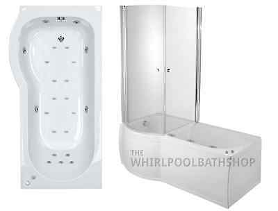 Moods LH Luxury P Shaped 23 Jet Whirlpool Spa Shower Bath | Enclosed Jacuzzi Spa