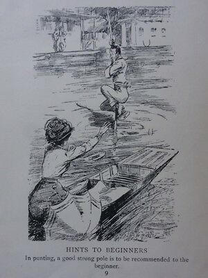 PUNTING Theme HINTS FOR BEGINNERS HENLEY / HOUSE BOATS Antique Punch Cartoon