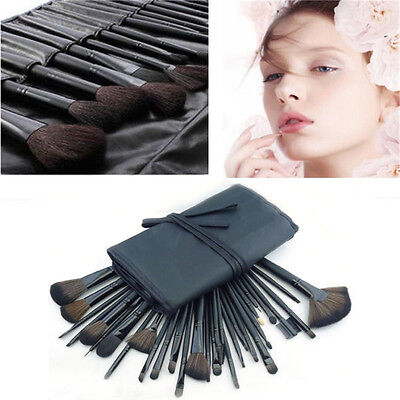 32pcs Pro Soft Cosmetic Eyebrow Shadow Makeup Brushes Set Kit + Black Pouch Bag