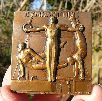 LOVELY !!!  52mm x 50mm BRONZE FRENCH  ART DECO - GYMNASTIC PLAQUE