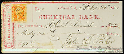 Obsolete Bank Check 1865 Chemical Bank New York NY w/ Stamp Civil War Period.