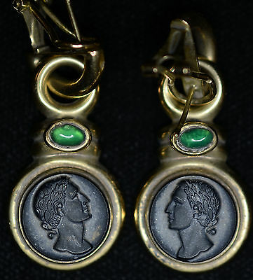 14kt Gold Faux/Composite Ancient Roman Greek Coin Bust Earrings.