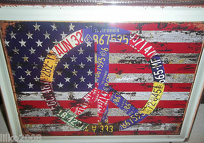 Usa Flag/ Peace Sign/licence Plates Large Metal Sign 40X30Cm, 16X12 Inch, Diner