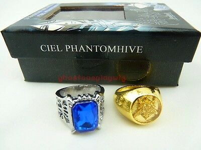 Free Shipping Black butler Kuroshitsuji Ciel Phantomhive Cosplay 2 Ring Set New6