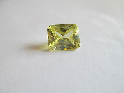 7.57ct Loose Emerald Cut Genuine Yellow Peridot Gemstone 11 x 9mm