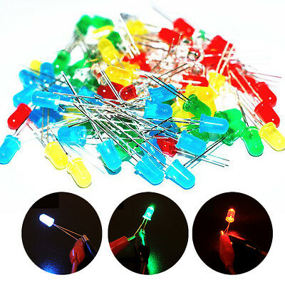 100pcs Mix 3mm Blue Red Yellow Green Round Light Emitting LED Diode Assorted Kit