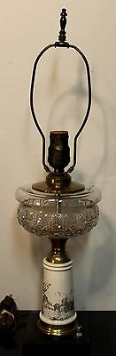 Vintage Electrified Oil Lamp Country or Farm Scene on Pottery Cast Iron Base