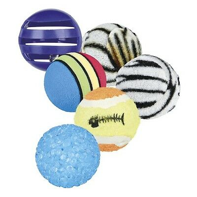 Trixie Cat Playing Balls (Set of 6) Kitten Playtime Ball Selection Texture 3.5cm
