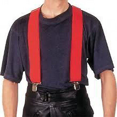 RED WIDE Plain Mens Braces Suspenders Adjustable trouser Elastic Thick Strap