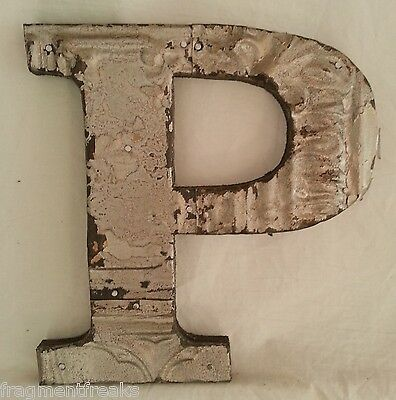 "Antique Tin Ceiling Wrapped 8"" Letter ""P"" Patchwork Metal Mosaic Silver"