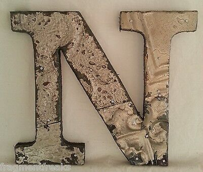 """Antique Tin Ceiling Wrapped 8"""" Letter 'N' Patchwork Metal Mosaic Silver"""