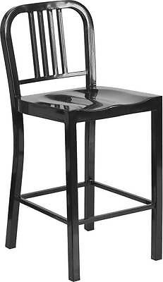 24'' Black Metal Counter Height Stool