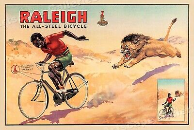 1940s Classic Bicycle Advertising Poster - Raleigh Steel Bicycles - 24x36