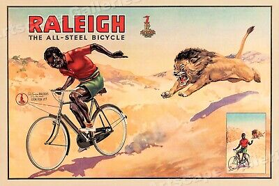 1940s Raleigh All Steel Bicycle Vintage Style Bicycle Advertising Poster - 20x30