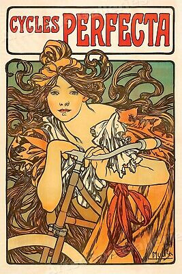 "1890's Classic Cycling Poster - Alphonse Mucha ""Cycles Perfecta"" - 24x36"