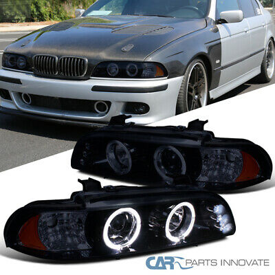 Glossy Black Fit BMW 96-03 E39 528i 530i Tinted LED DRL Projector Headlights