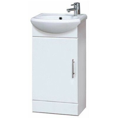 Bathroom Cloakroom Compact White Gloss Vanity Unit Cabinet Ceramic Basin NVS100
