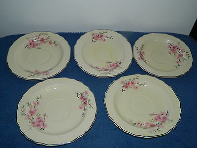 Set Of 5 W. S. George Lido Canarytone Cherry Blossom Coffee Or Tea Saucers
