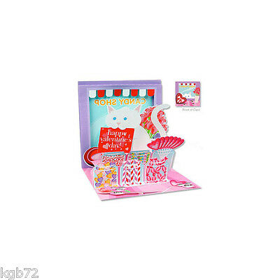 3D Candy Shop Cat Pop Up Greeting Card Up With Paper #958 Valentine's Day Love
