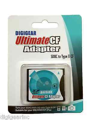 Digigear SD SDHC SDXC to Compact Flash CF Type II Memory Card Adapter Converter