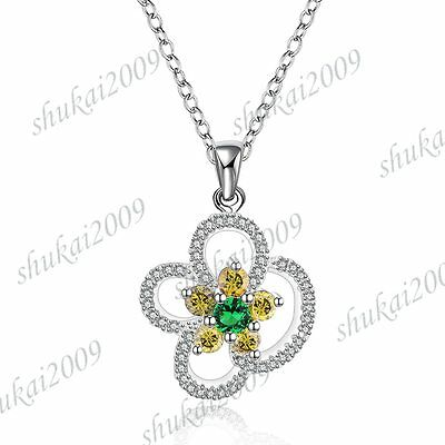 CN559 New Fashion 925 Silver Crystal Multicolor Zircon Flower Choker Necklace