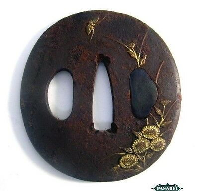 Antique Japanese Iron and Gold Samorai Tsuba 19th Century