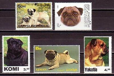 Pug Dogs 5 different MNH stamps PUG06