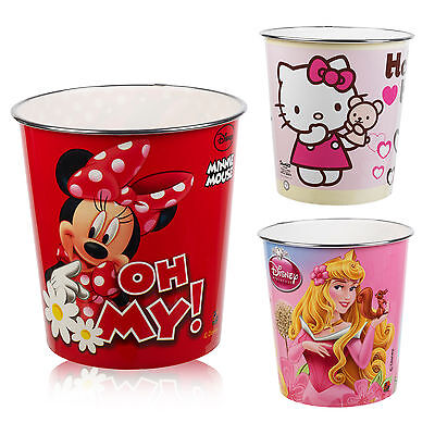 Kids Disney & Hello Kitty Waste Rubbish Bin Plastic Trash Can Bedroom Nursery